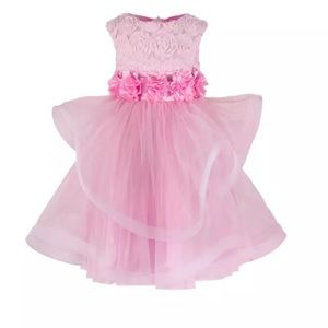Other - Girls Pink Self Design Fit and Flare dress